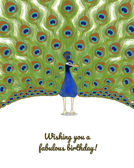 happy birthday card fabulous peacock
