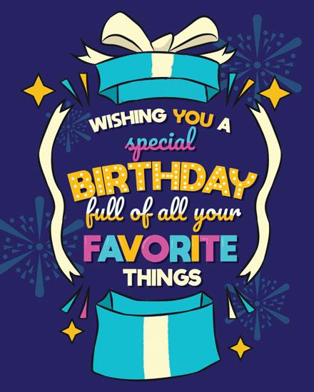 happy birthday card favorite things gift box