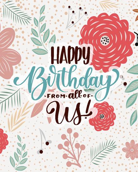 happy birthday card floral wallpaper