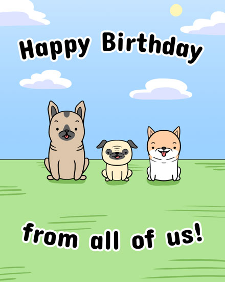 happy birthday card from the dogs