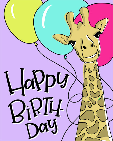 happy birthday card giraffe