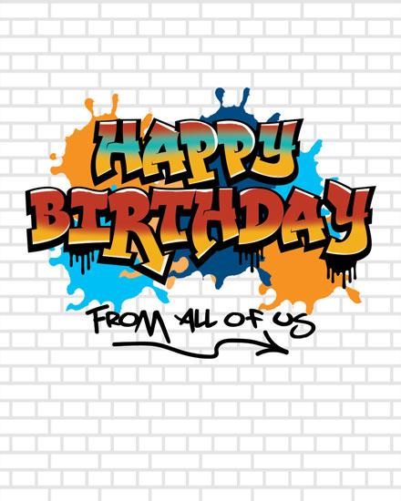 happy birthday card graffiti tag brick wall