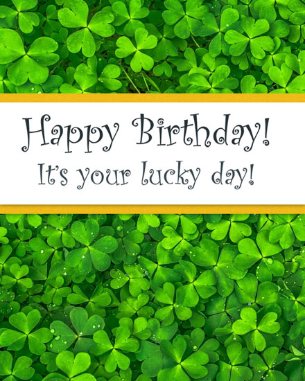 happy birthday card green clover leaves