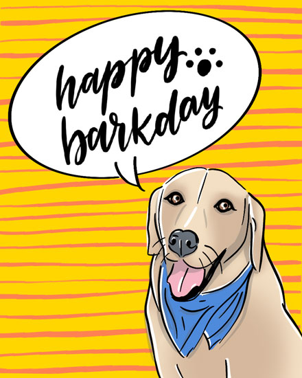 happy birthday card barkday dog
