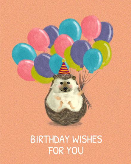 happy birthday card hedgehog holding balloons