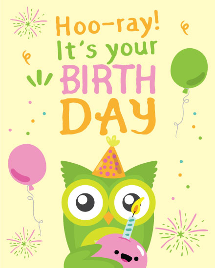 happy birthday card hooray green owl