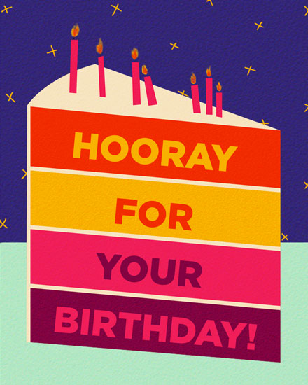 happy birthday card hooray slice of cake