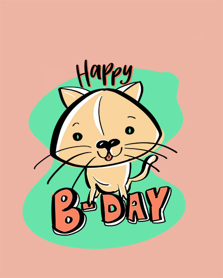happy birthday card kitten