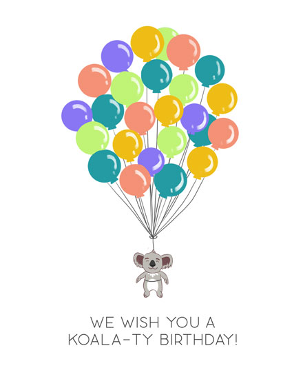 happy birthday card koala thank you birthday balloons