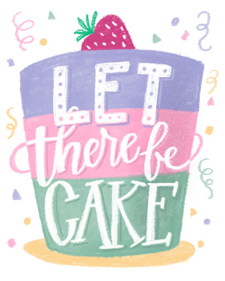 happy birthday card let there be cake