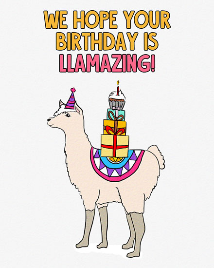 birthday card llama against mountains