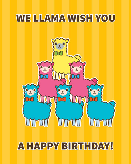 happy birthday card llama wish you happy birthday
