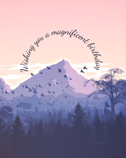 happy birthday card magnificent mountain