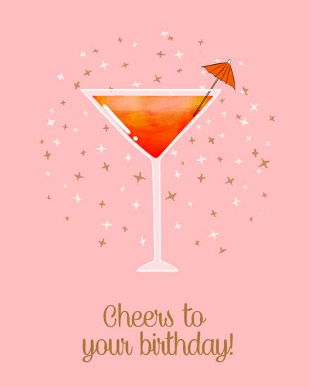 happy birthday card martini glass mini umbrella