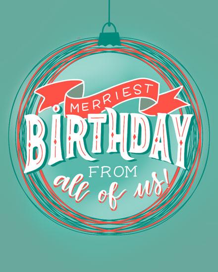 happy birthday card merriest birthday ornament