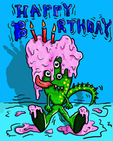 happy birthday card monster melted cake