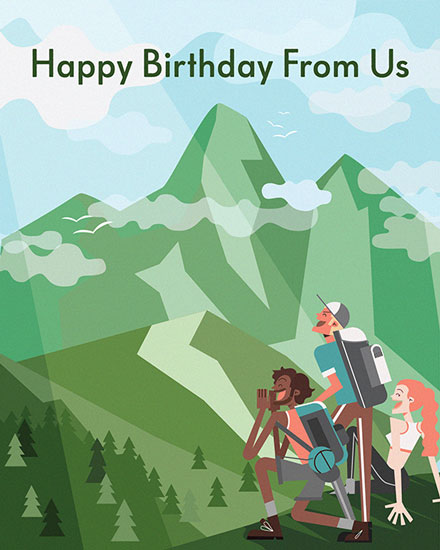 happy birthday card mountain climbers