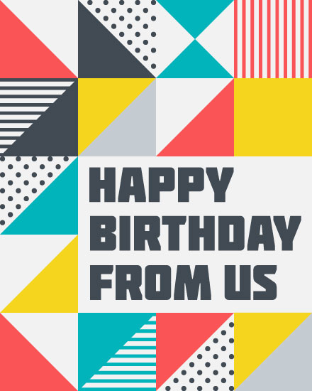 happy birthday card patterned squares