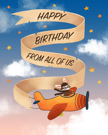 happy birthday card rabbit piloting airplane