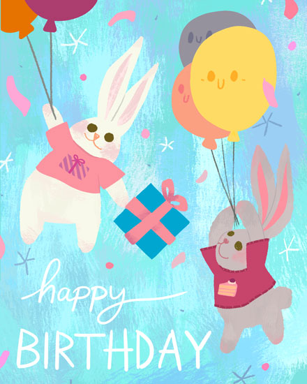 happy birthday card rabbits