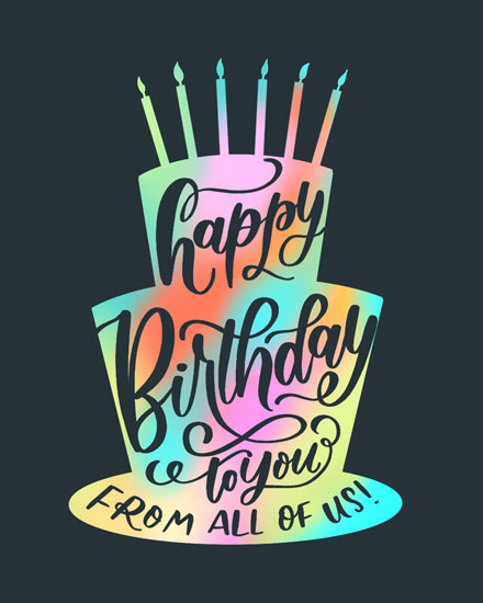 happy birthday card rainbow birthday cake silhouette