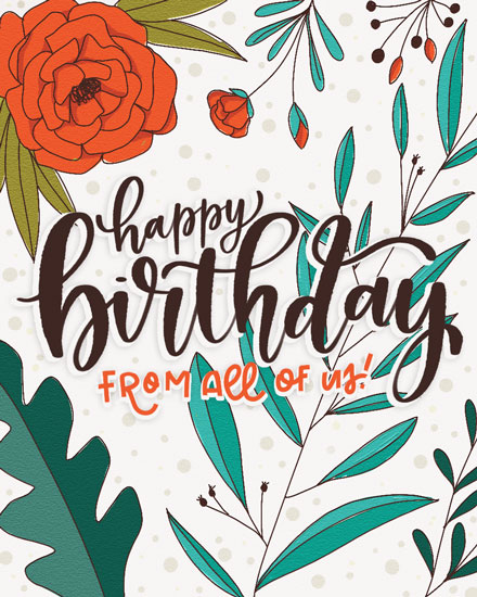 happy birthday card red teal floral
