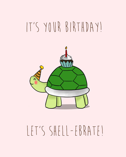 happy birthday card shellebrate turtle with cupcake