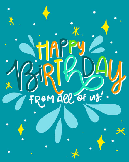 happy birthday card splashes and sparkles teal
