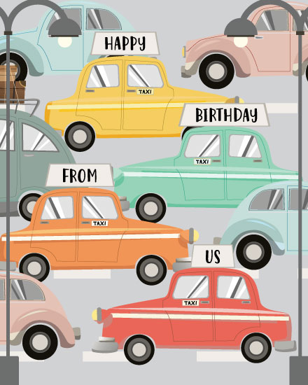happy birthday card taxi cabs