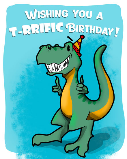 happy birthday card terrific t-rex dinosaur
