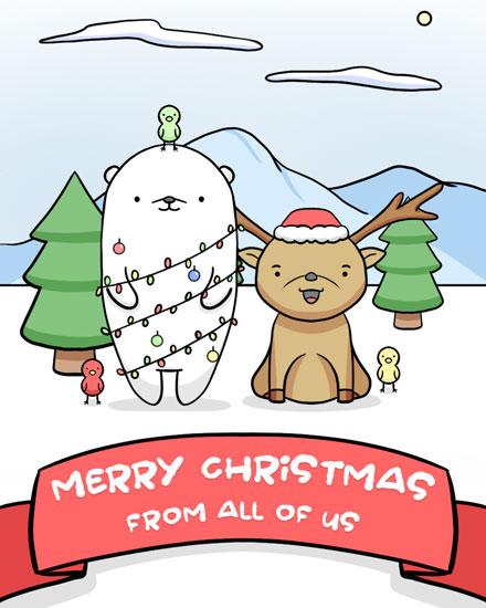 holiday card deer bear bird