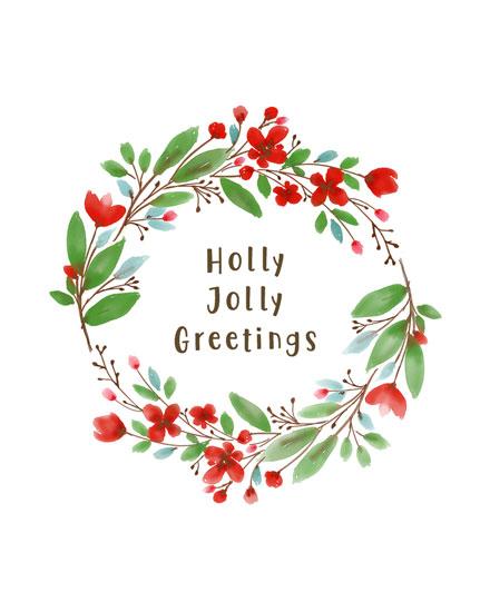 holiday card holly jolly wreath