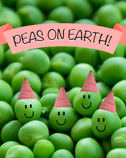 holiday card peas on earth