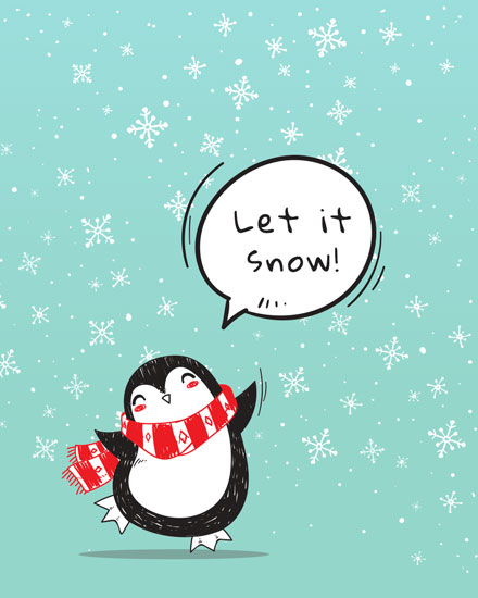 holiday card penguin let it snow