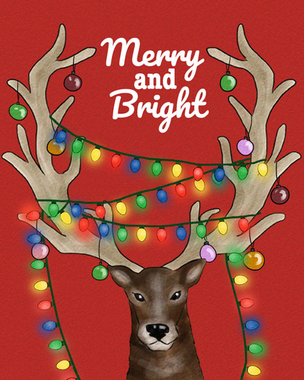 holiday card reindeer lights
