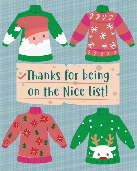 holiday card ugly sweaters