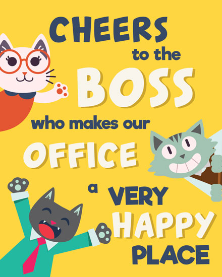 boss day card cheers cats