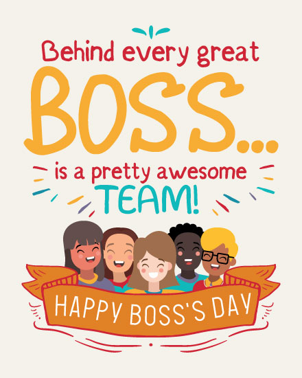 boss day card behind every great boss is awesome team