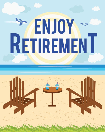 retirement card adirondack chairs