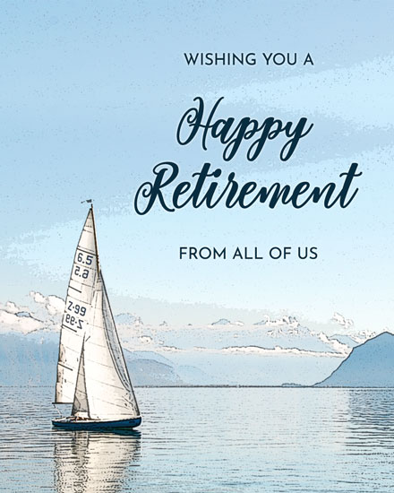 retirement card boat sailing away