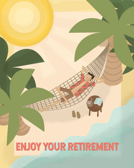 retirement card retired man relaxing on island hammock