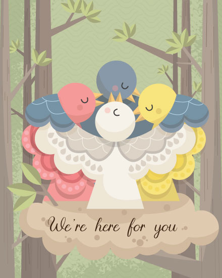 sympathy card birds huddling