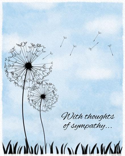 sympathy card dandelions against watercolor