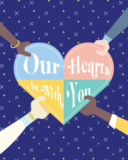 sympathy card our hearts are with you