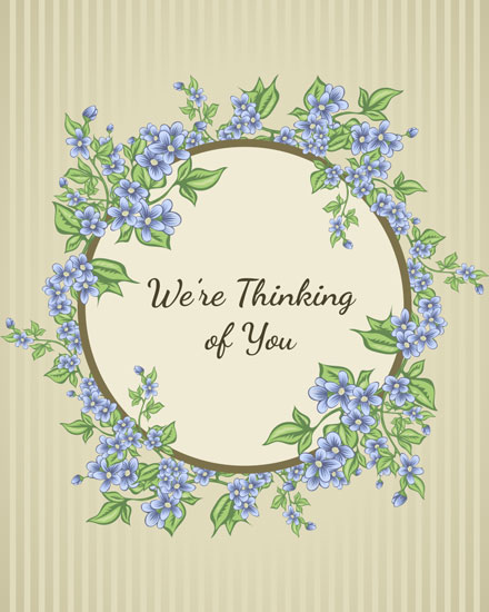 thinking of you card blue floral wreath