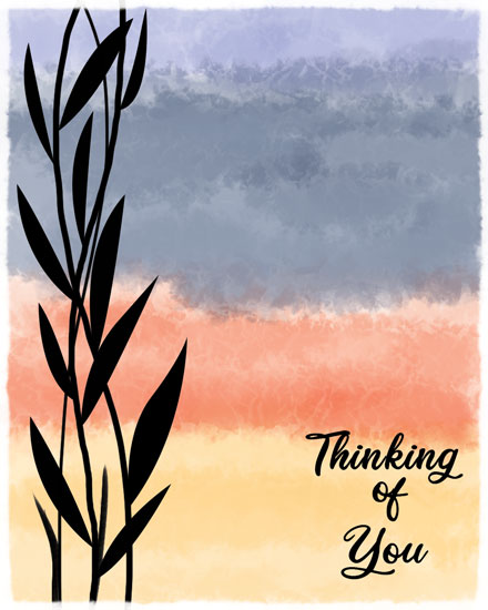 thinking of you card reeds against watercolor