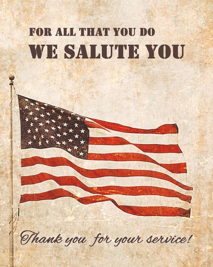 thank you for your service american veterans card