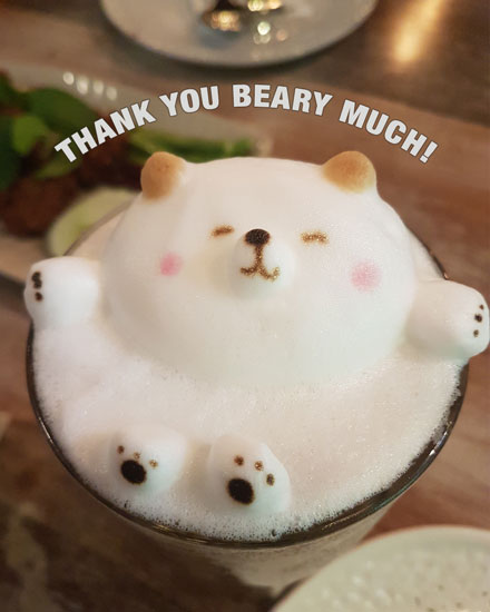 thank you card beary much latte pun