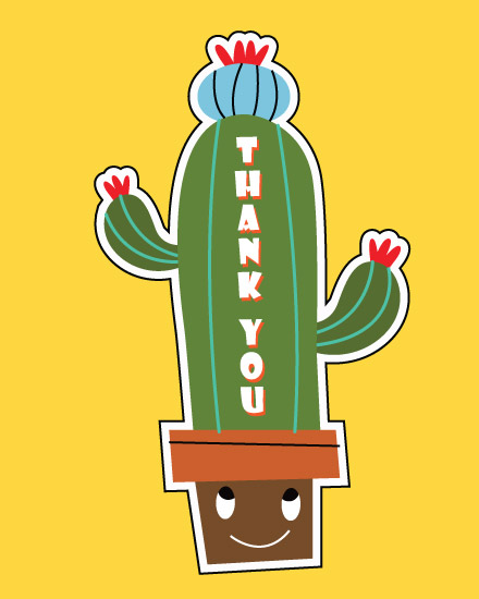 thank you card happy cactus