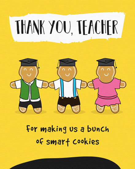 thank you teacher card smart gingerbread cookies